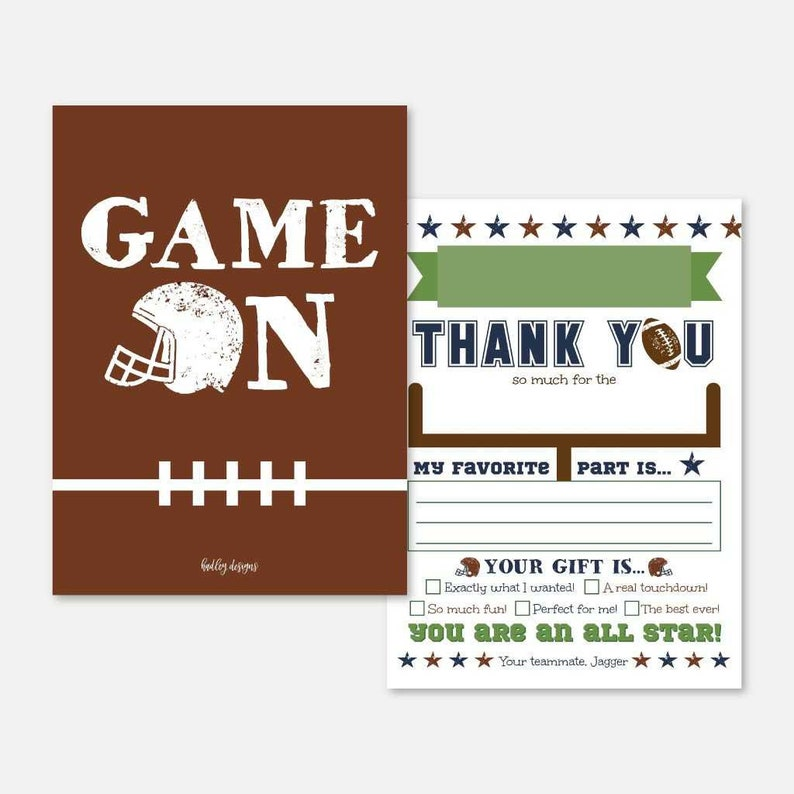 Football  Thank You Card Instant Download,Football  Thank You Note Printable Football  Kids Party Fill In The Blank Thank You Card Template