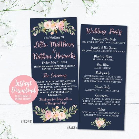 Wedding Programs Catholic Wedding Programs Cheap Wedding Etsy
