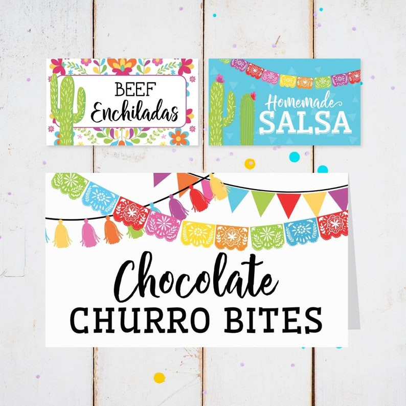 Printable Place Card Template Fiesta Food Tags Editable Food Tent Cards Printable Printable Food Tent Cards Buffet Card Printable