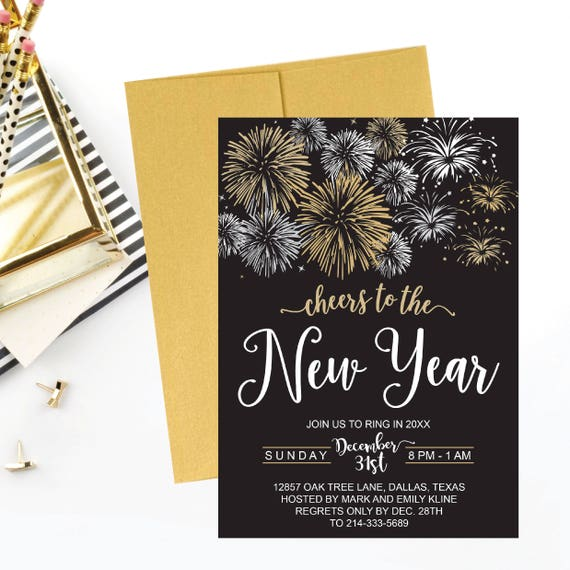 New Year's Eve Silver Gold Fireworks Party Invitation