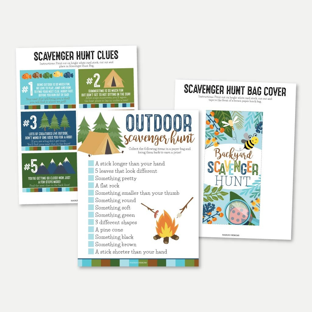 Camping Scavenger Hunt Printable, Summer Camp Nature Scavenger Hunt Card  Template, Outdoor Treasure Hunt Riddles, Backyard Hiking Trail Game Inside Clue Card Template
