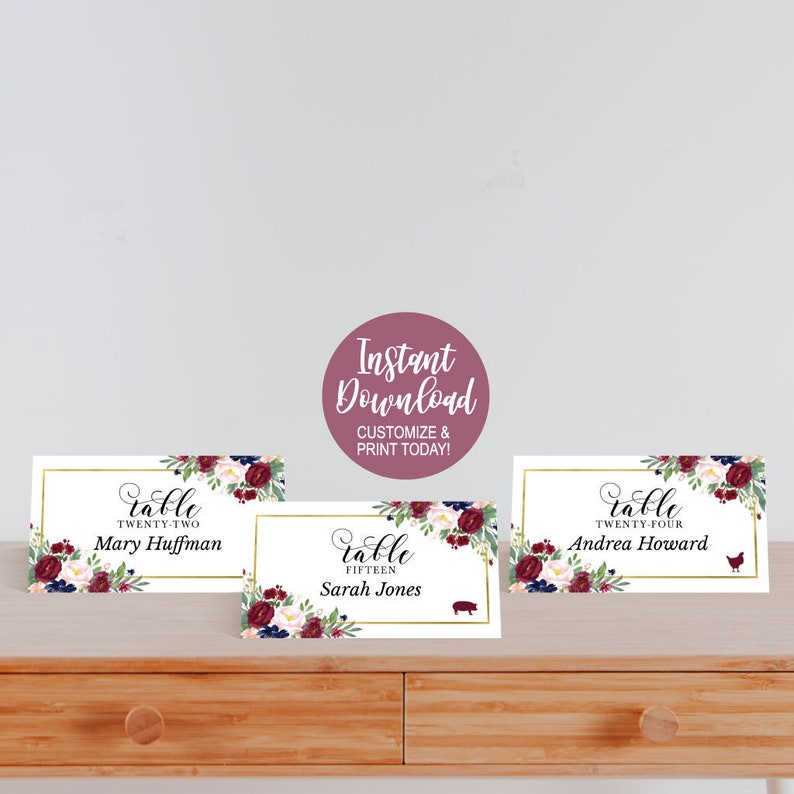 DIY Place Cards Template For Wedding Wedding Place Card Meal Choice Icon Printable Place Cards for Tables Place Cards Wedding Templates