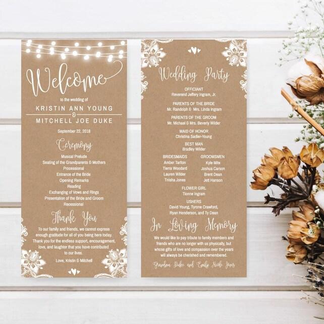 Thanks For Wedding Invitation Quotes: Wedding Program Template Download, Wedding Program Thank