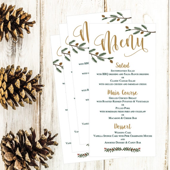 christmas holiday winter wedding party menu template modern etsy
