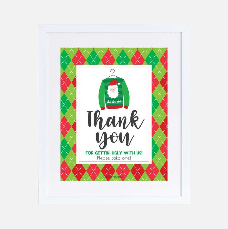 Ugly Sweater Signs Set Templates PDF Printable Christmas Sign Printable Printable Christmas Sign Personalized Instant Download