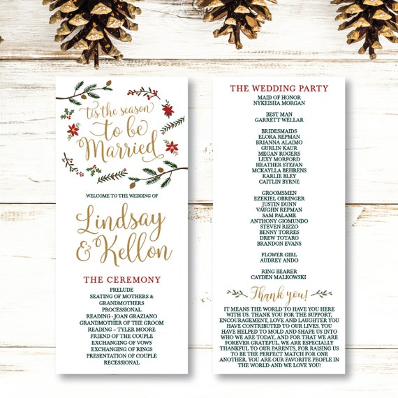 Holiday Wedding Program Template Wedding Ceremony Rustic Etsy