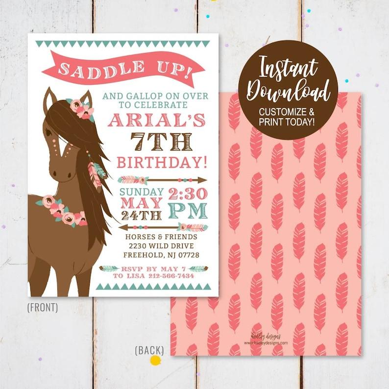 Horse Birthday Invitation Printable Instant Download Kids Invite Hadley Designs Digital Template