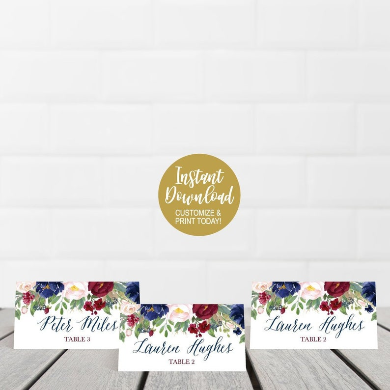 Printable Place Cards for Tables Wedding Place Card Meal Choice Icon Place Cards Wedding Templates DIY Place Cards Template For Wedding