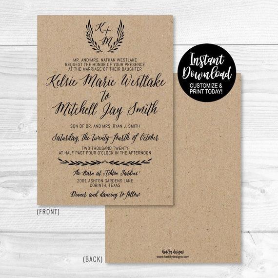 wedding invitation downloadable templates downloadable etsy