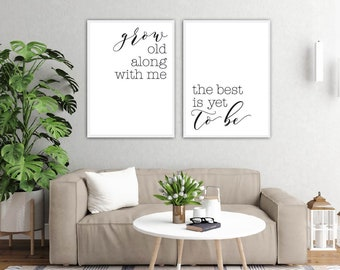Grow Old Along With Me Printable Sign Set, Minimalist Rustic Wall Art, Love Couple Bedroom Decor, Digital Prints Wall Poster
