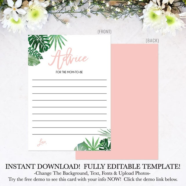 Tropical Baby Shower Pink Advice Printable Card For New Moms Cards Download