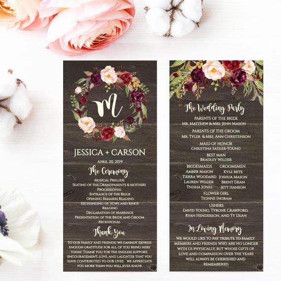 wedding program ideas templates