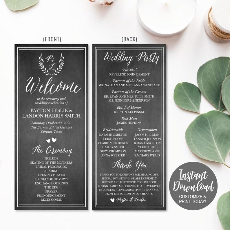 Wedding Program Template Download, Wedding Program Thank You Quotes, Unique  Wedding Program Ideas, Wedding Ceremony Program Template