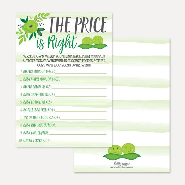 Peas In A Pod Twins Baby Shower The Price Is Right Game Template