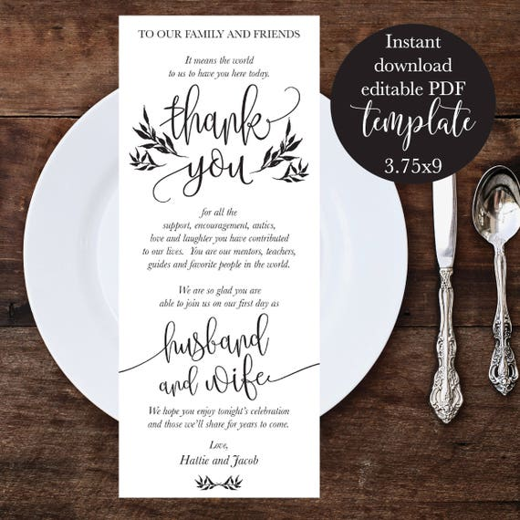Wedding Place Setting Thank You Cards Rustic Thank You Place Etsy