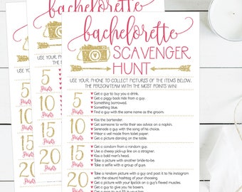 Bachelorette Scavenger Hunt Game Printable Cards, Pink and Gold Bachelorette Hen Party, Scavenger Activy Photo Game, DIY Instant Download
