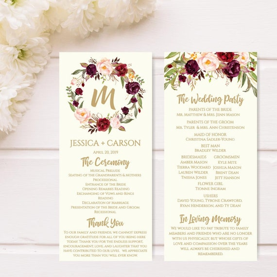 printable wedding programs download wedding program layout etsy