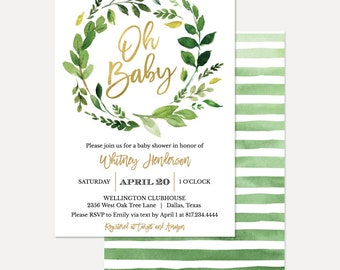 Greenery and Gold Gender Neutral Baby Shower Invitation, Baby Shower Invitation Template, Digital Download, Printable Baby Shower Invitation