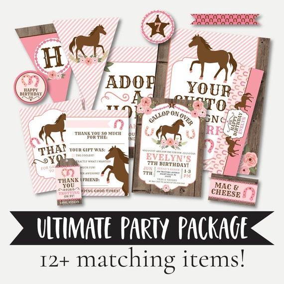 Horse Birthday Party Decorations Kids Birthday Invitation | Etsy