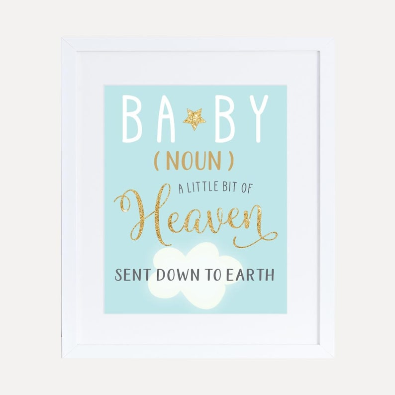 Angel Boy Baby Shower Quote Sign Template Printable Baby Etsy