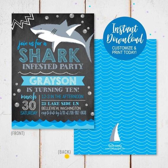 Shark Invite Template Invitation Download Instant Custom