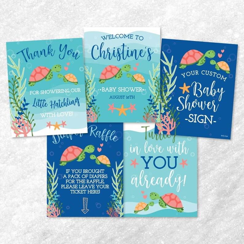 Sign Printable Baby Shower Sign Package Baby Shower Sign Matching Baby Shower Signs Sea Turtle Orange Blue Shower Sign Bundle