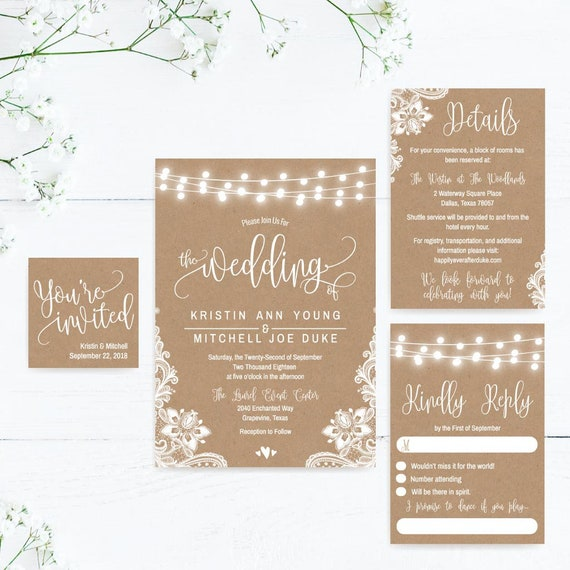 Wedding Invitations With RSVP Online Wedding Invitations Etsy