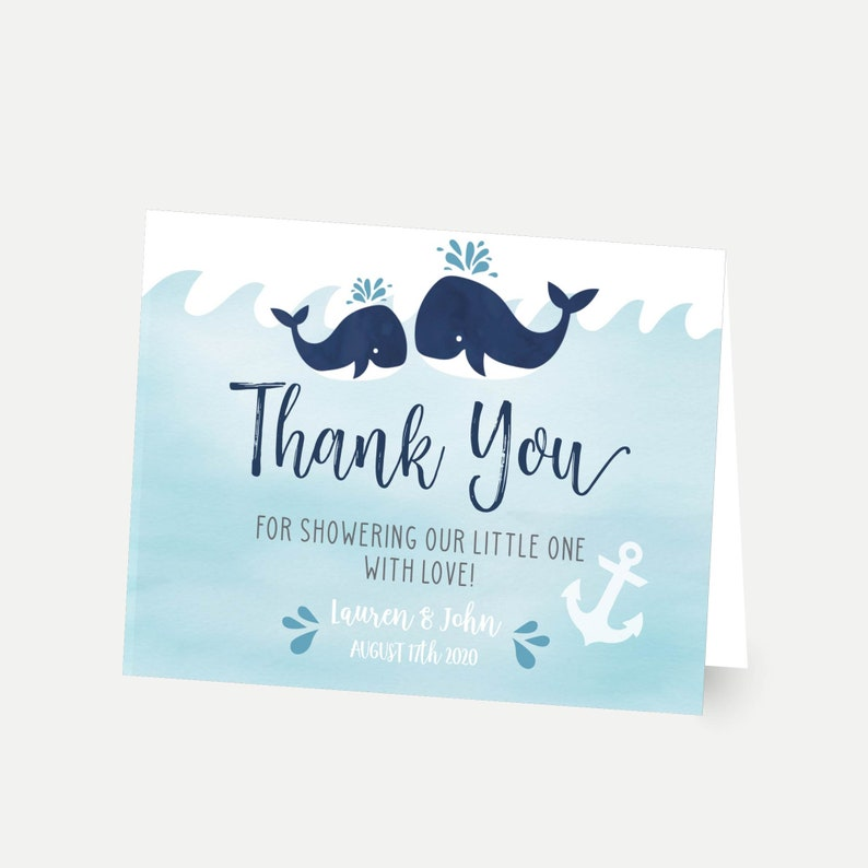 Whale Nautical Baby Shower Thank You Card Template Diy Thank Etsy