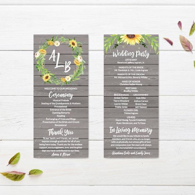 Wedding Program Download Editable Text Wedding Ceremony Programs