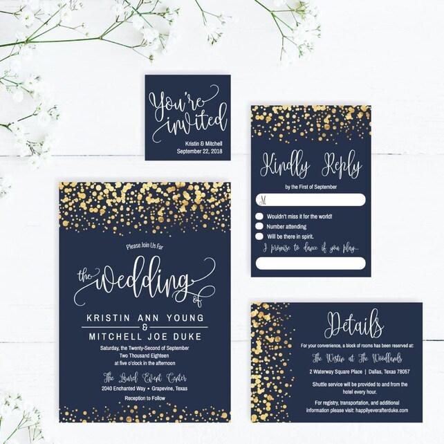 Printable Wedding Invitations With RSVP Elegant Invitation PDF Downloadable Templates DIY