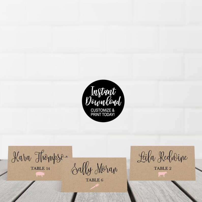 Printable Place Cards for Tables DIY Place Cards Template For Wedding Place Cards Wedding Templates Wedding Place Card Meal Choice Icon