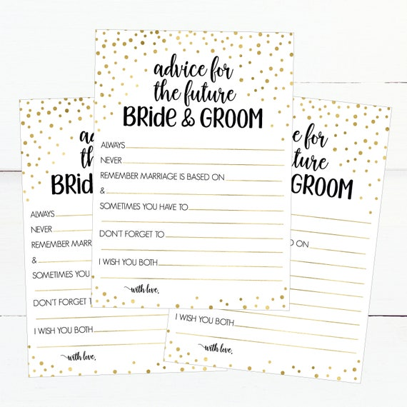 printable bridal shower advice cards 5x7 funny wedding advice for bride and groom advice for the