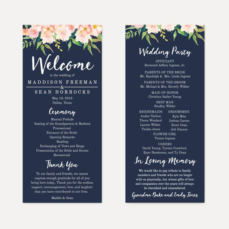 Wedding Ceremony Programs.Navy Blue And Blush Floral Printable Wedding Ceremony Program Template Hadley Designs Wedding Programs Pdf Wedding Ceremony Programs Diy