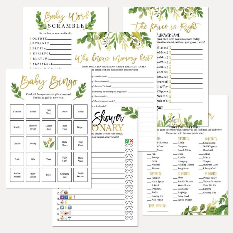 Greenery Gold Baby Shower Game Suite Baby Shower Game Package Shower Game Kit Game Set Baby Shower Game Bundle
