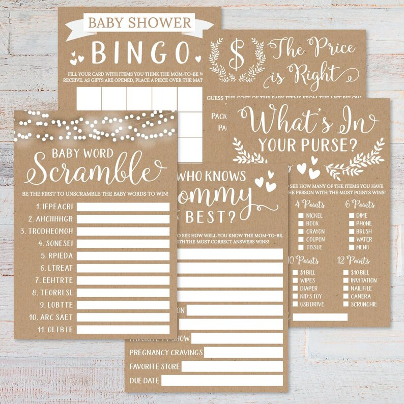 Whats In Your Purse Who Knows Mommy Best The Price Is Right Word Scramble Kraft and White Floral Baby Shower Game Set Templates -Bingo
