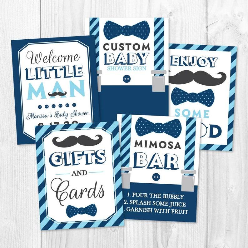 Sign Printable Baby Shower Sign Package Matching Baby Shower Signs Baby Shower Sign Little Man White Blue Baby Shower Sign Bundle