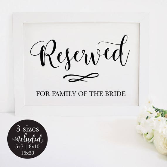 picture about Printable Reserved Sign known as Printable Reserved Indicator for Wedding ceremony, Rustic Rite Seating Desk Card for the Bride and Grooms Household, Do-it-yourself Editable PDF Immediate Obtain