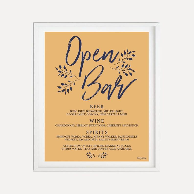 Navy Mustard Rustic Wedding Bar Menu Sign Template Hadley Menu Marriage Printable Signature Drinks Menu Bar Menu Wedding Template
