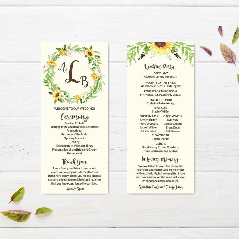 Cream Sunflower Rustic Printable Wedding Ceremony Program Template