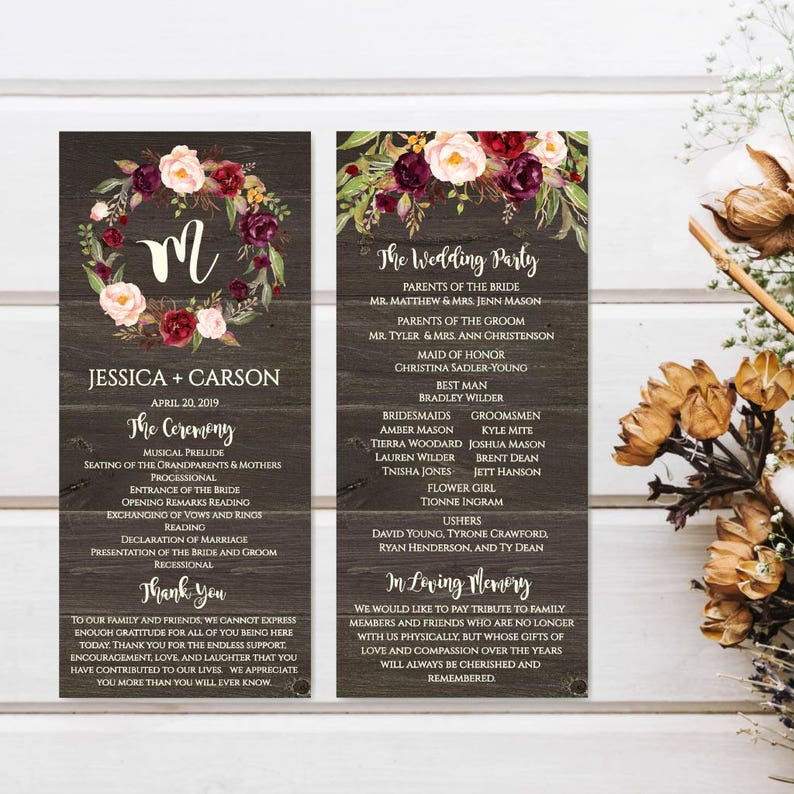 Printable Wedding Programs Download Wedding Program Downloadable Template Wedding Program Thank You Ideas Wedding Program Layout Design