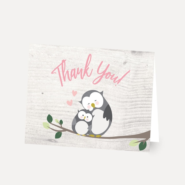 Owl Girl Baby Shower Thank You Card Template - Thank You ...