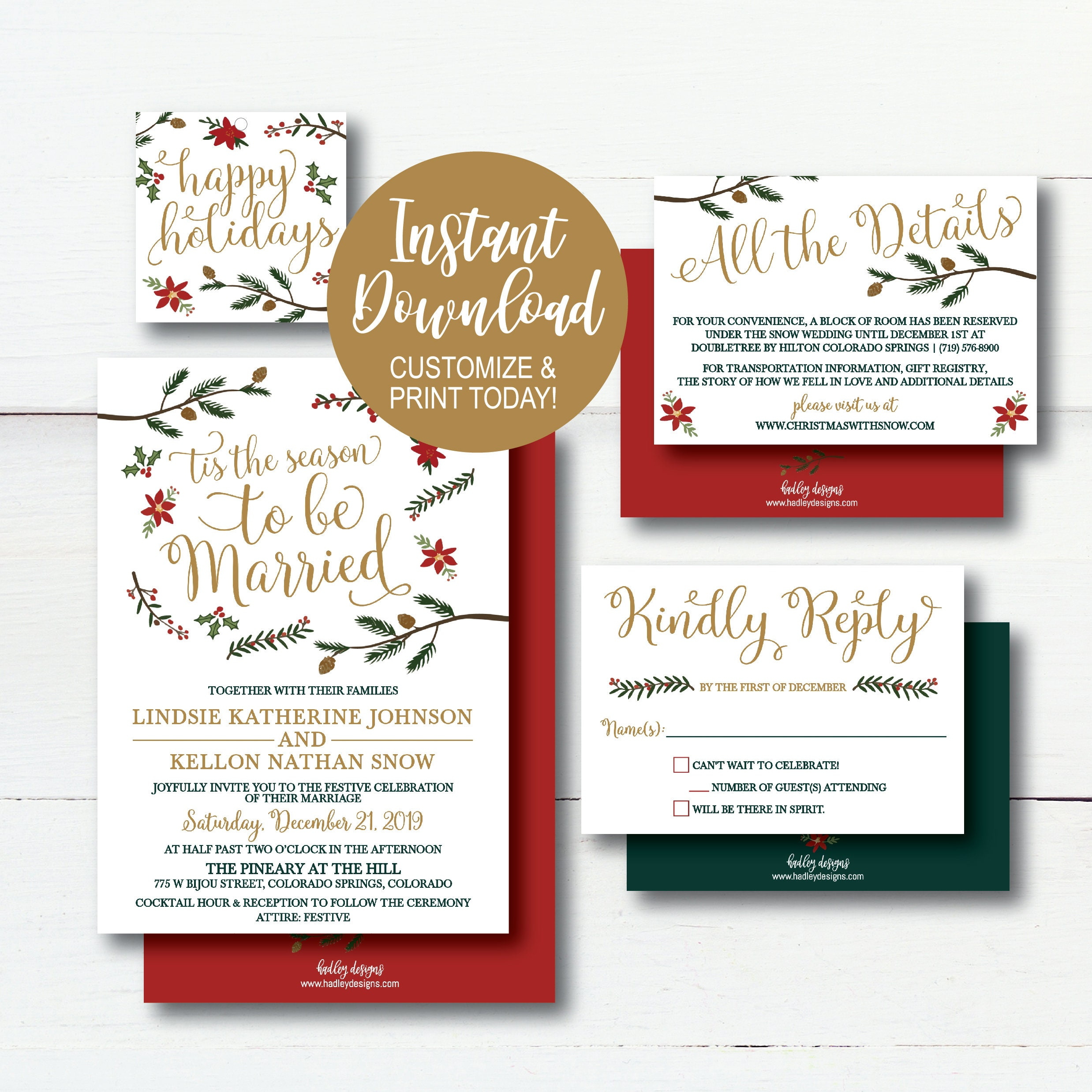 Holiday Wedding Invitation Template Winter Rustic Printable | Etsy