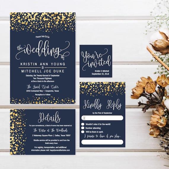 Affordable Wedding Invitation Suite Diy Wedding Invitations Etsy