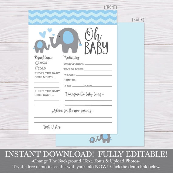 photograph about Baby Prediction Cards Free Printable named Printable Youngster Shower Prediction Card, Kid Shower