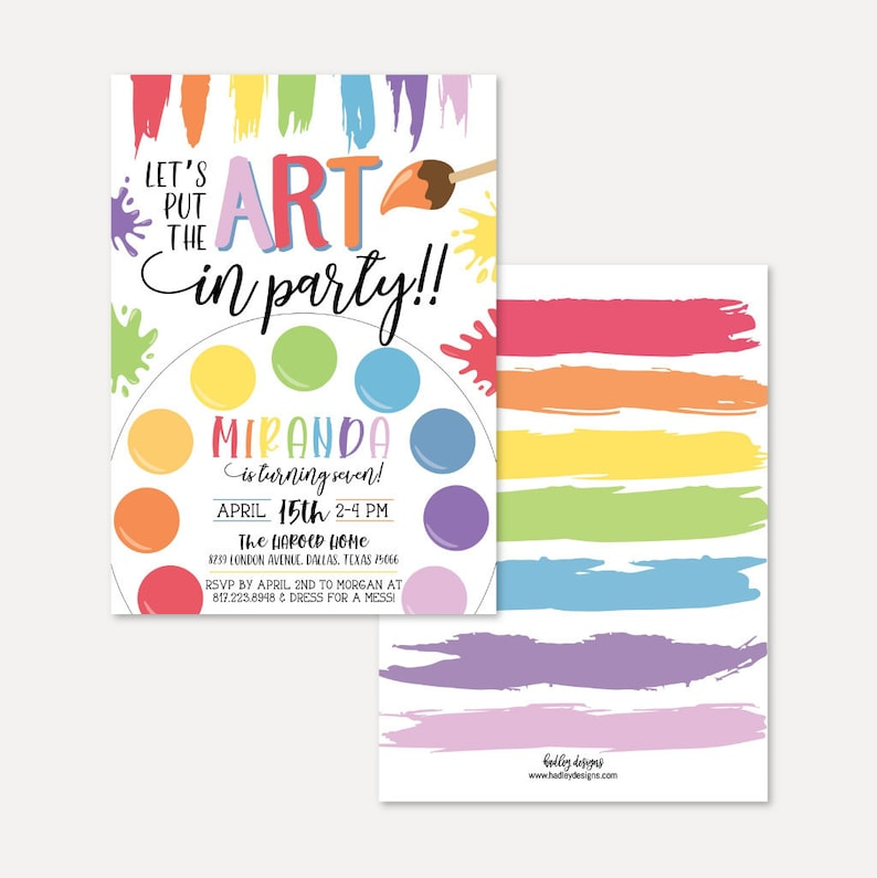 Art Kids Party Invitation Template