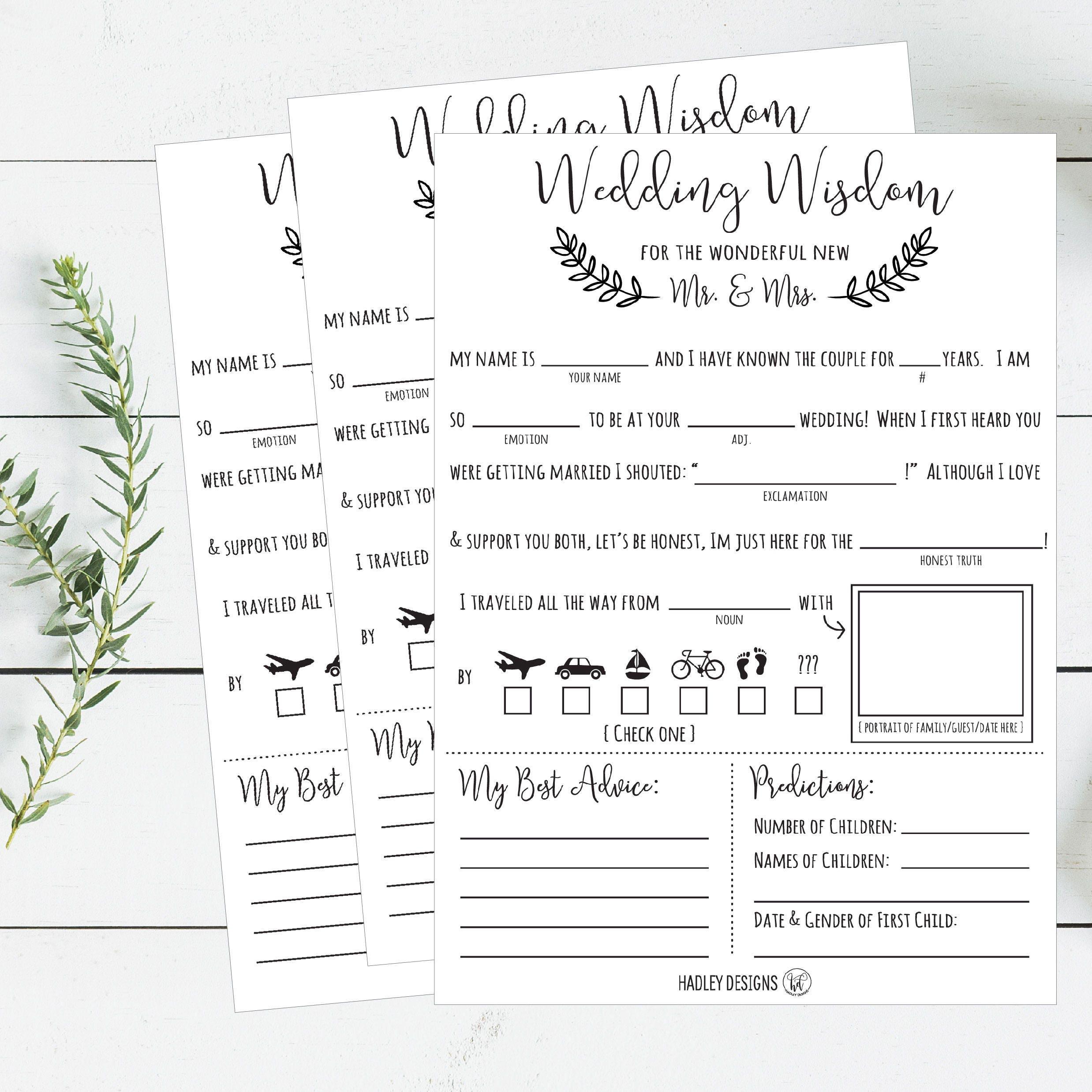 Mad Libs Wedding Wisdom Printable Cards Rustic Elegant Bride Etsy