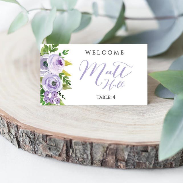Lavender Floral Watercolor Wedding Place Card Flat And Tented