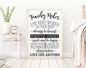 Family Rules Use Kind Words Printable Sign Set, Hadley Designs. Bedroom Wall Art Print, Minimalist Art, Wall Art Print Set, Printable Art