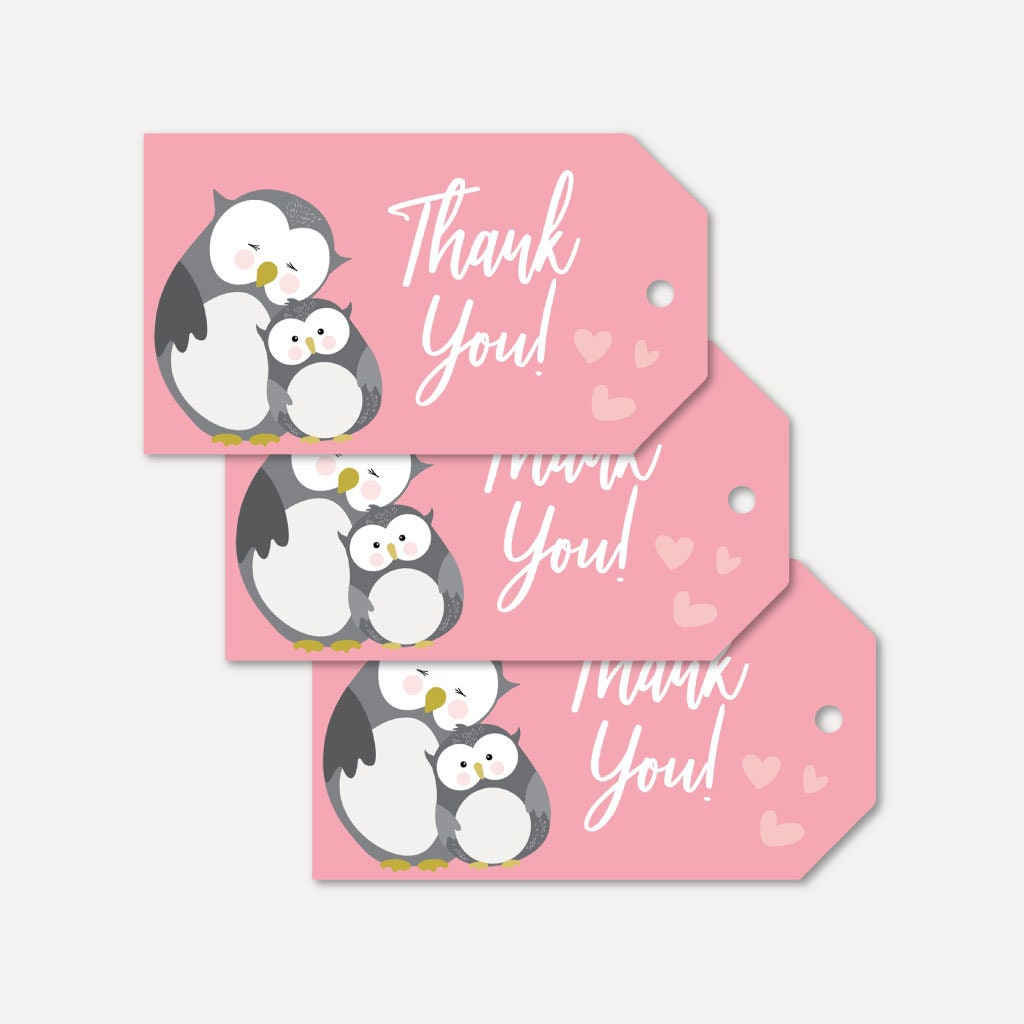 Owl Girl Baby Shower Thank You Favor Tags Template Thank You   Etsy