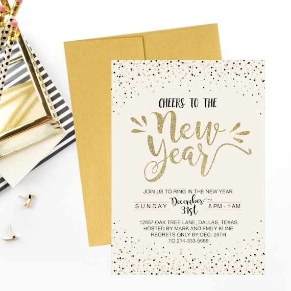 New Year S Eve Party Invitation Template Gold Cheers To Etsy